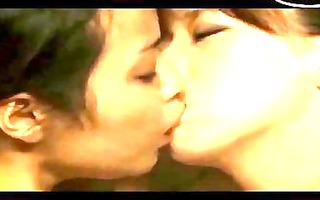 oriental hotty giving a kiss fingered and licked