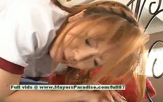 teen japanese model receives fur pie fingered and