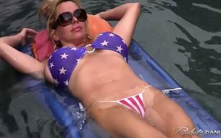 breasty mother i in small bikini masturbates