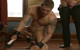 excellent homosexual hunk with tattooed receives
