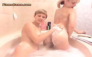 lesbo bubble bathroom
