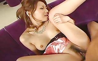 oriental dark brown receives love tunnel licked