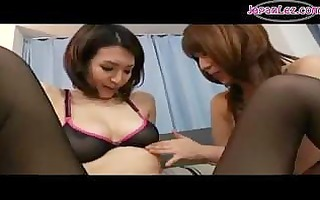 oriental beauty in hose getting her scoops rubbed