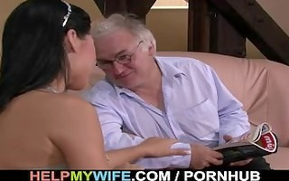 old hubby watches his pleasant wife fuck