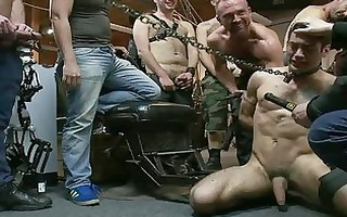 tattooed homosexual dude receives hard on being