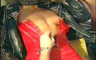 gilly sampson takes 5 chaps in hot red latex
