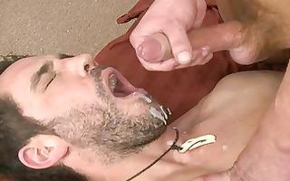 hot tattooed homo dude swallows sexy cum