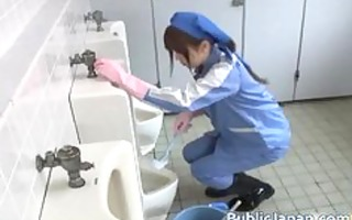 oriental girl is cleaning the mens room part9