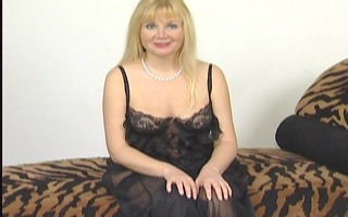 golden-haired fraulein playing with herself