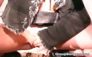 outdoor group sex with lascivious aged bitch