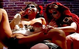 hawt costumed lesbo honeys having steemy sex at