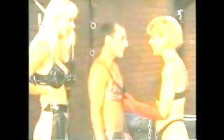 guy in panties gets dominated by blondes