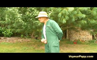fuckfest in nature with voyeur papy