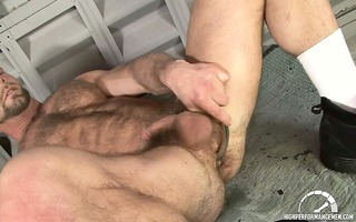 dirk works over his hairy brawny body and probes