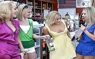 9 blond lesbian babes pick up an one more