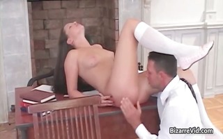 cute dark brown babe is sent to her part8