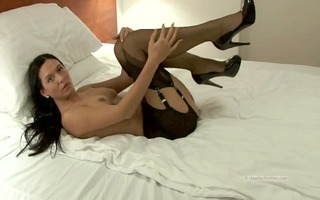 hotty in vintage stockings garter belt has rock