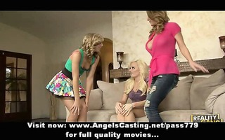 three golden-haired lesbian angels undressing and