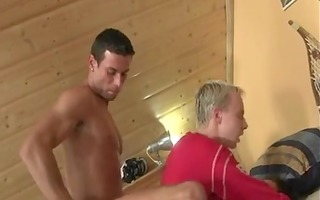 3 fellows fuck young mate bareback