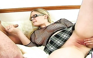 overweight blond mother i with glasses gets
