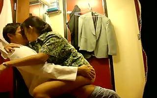 oriental non-professional sex in dressing room