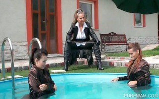 lesbian slaves show juicy bodies in pool