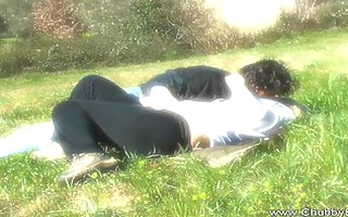 golden-haired big beautiful woman drilled outdoor