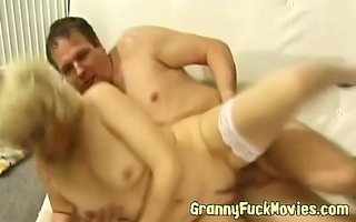 golden-haired grandma sucks ramrod